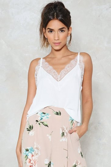 Womens White Delicate Subject Lace Top