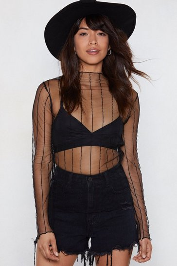 Black Stripe Up Your Alley Mesh Top