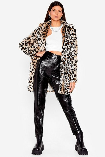 Brown Grrrl Power Faux Fur Leopard Coat