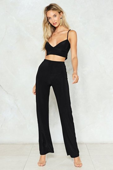 Womens Black On the Loose Top and Trousers Set