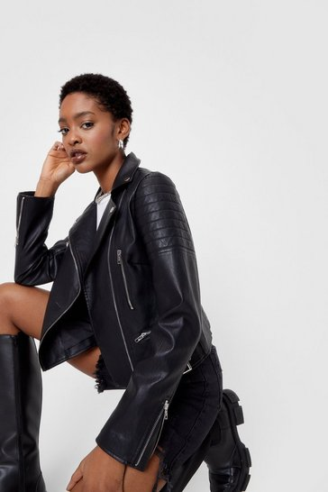 Black Faux Leather Moto Jacket with Asymmetric Zip Closure