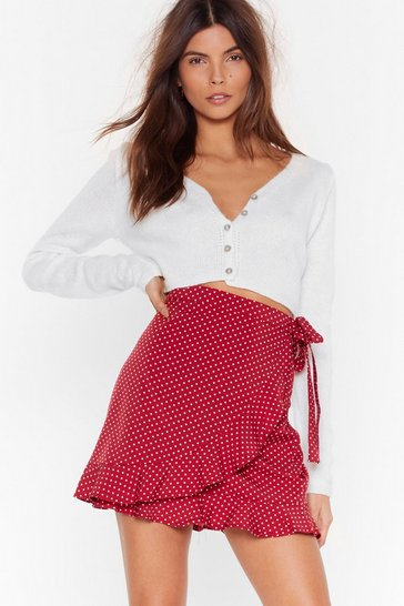Burgundy Polka Dot Wrap Skirt