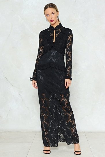 Womens Black Down to Earth Lace Maxi Dress