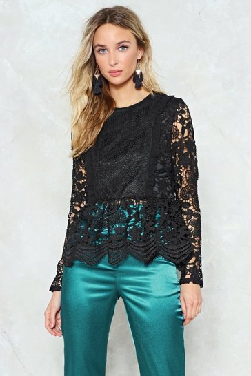 Black Lace to Lace Peplum Blouse