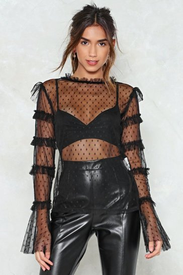 Womens Black Chin Up Mesh Top