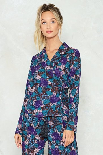 Womens Purple Rose to the Occasion Wrap Top