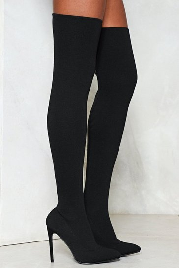 Black Slinky Fitted Thigh High Heeled Boots