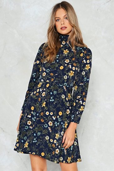 Navy Field of Opportunity Floral Dress