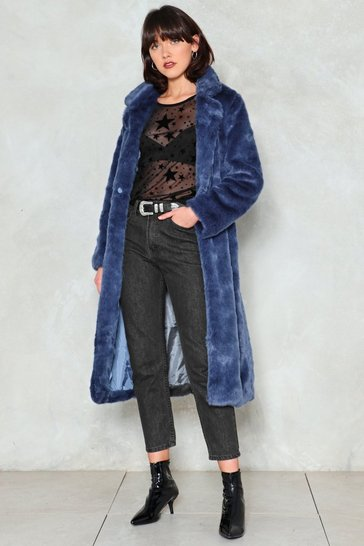 Blue Fur-Tune Teller Faux Fur Coat