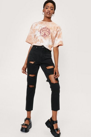 Black High Waisted Distressed Mom Jeans