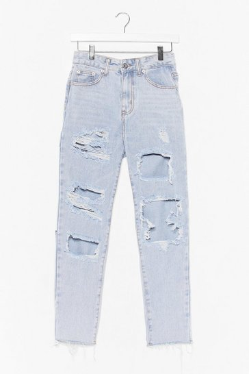 Bleach wash High-Waisted Distressed Jeans