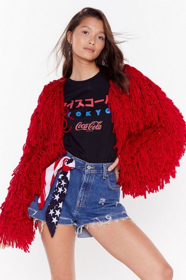 Womens Red Bad Romance Shaggy Cardigan