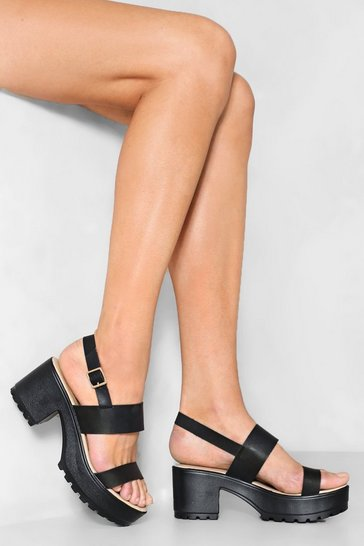 Faux Leather Black Platform with Ankle Strap