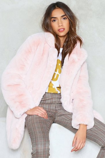Womens Blush Surfin' Bird Faux Fur Coat