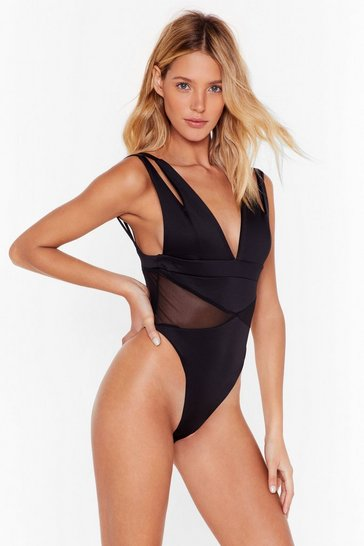 Womens Black Midnight City Plunging Bodysuit
