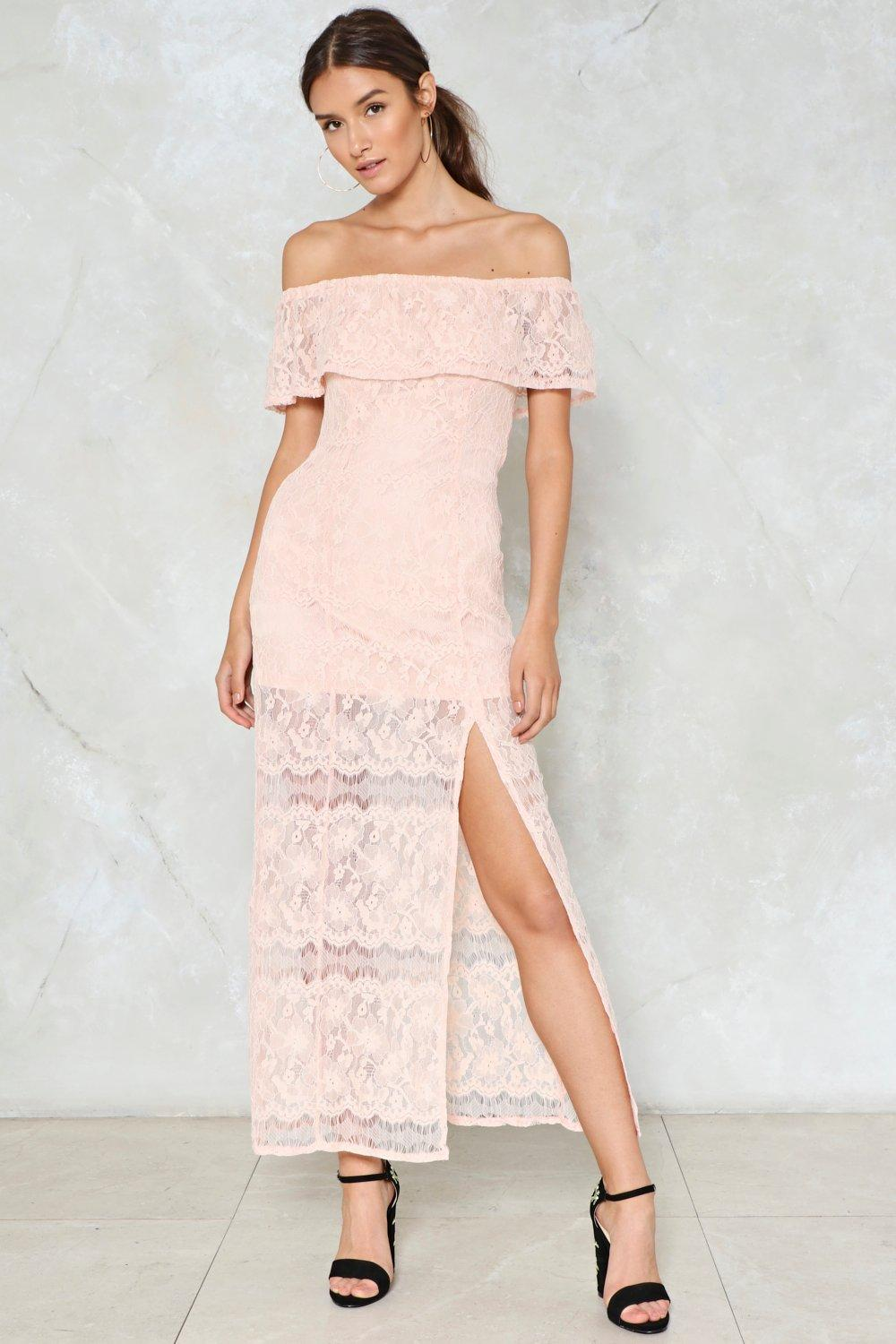 Slit The Mark Lace Dress Shop Clothes At Nasty Gal