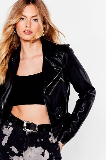 Black Faux Leather Asymetric Zip Biker Jacket
