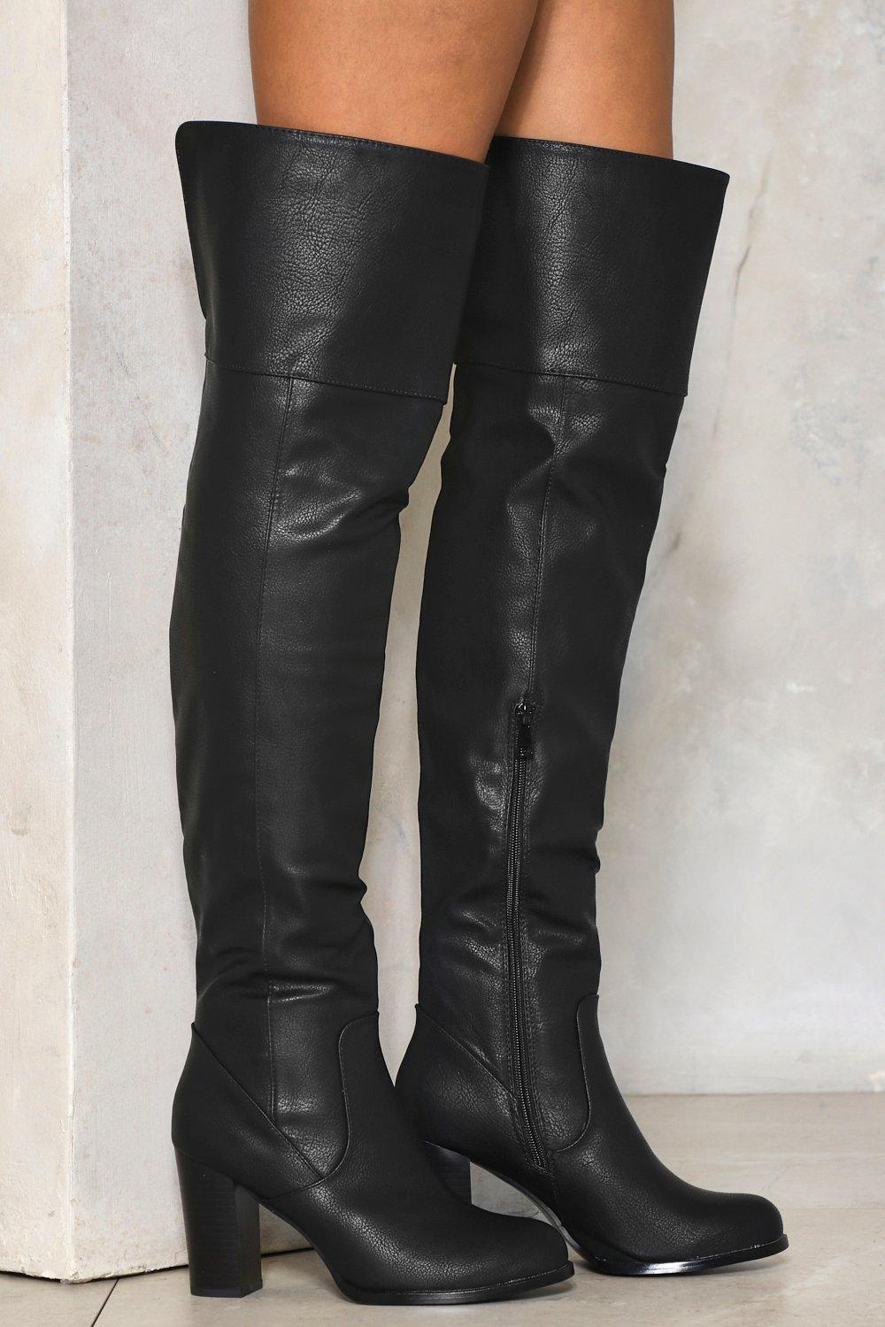 801336b05c7 To the Sky Over-the-Knee Faux Leather Boot   Shop Clothes at Nasty Gal!