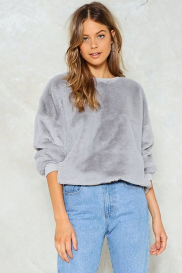 Grey Total Softy Faux Fur Jumper