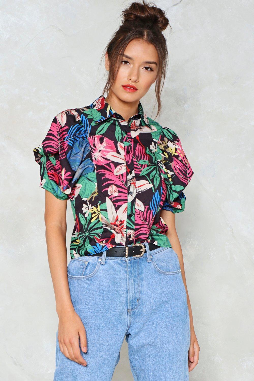111b4d7191ea7c Hawaiian Print Puff Sleeve Shirt