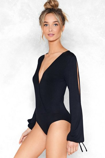 Womens Black Get Your Slit Together Bodysuit