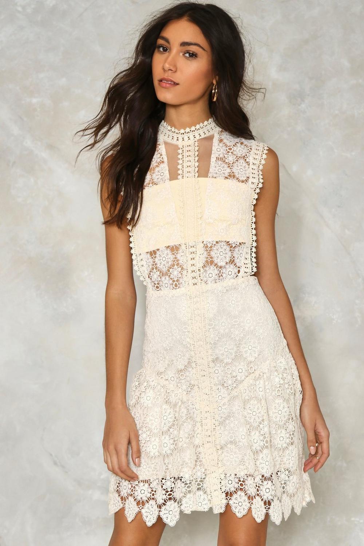 e7ee042cc7e Womens Cream Laguna Crochet Lace Dress