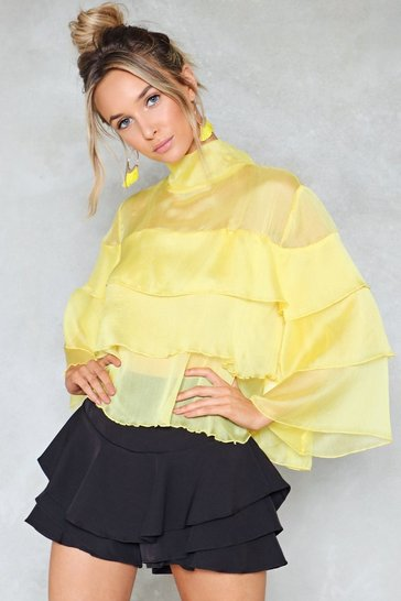 Yellow Live to Tell Ruffle Top
