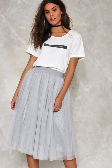 Grey Tulle Cool for Rules Midi Skirt