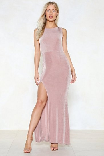 Nude Drunk in Love Slit Dress