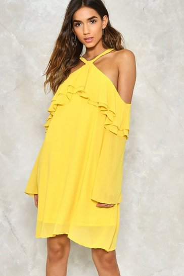 Yellow Layer It On Me Cold Shoulder Dress