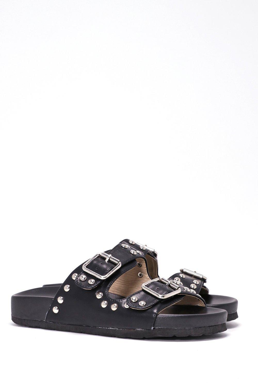 b3c4e74c972f Buckle Up Faux Leather Slide Sandal
