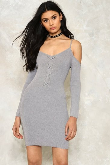Grey Freeze Dry Lace-up Dress