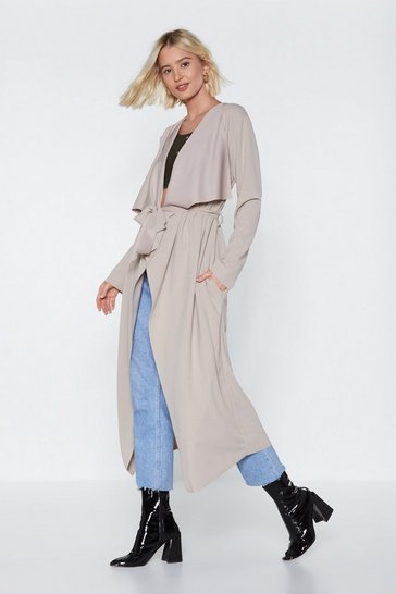 Womens Beige I Got This Duster Coat