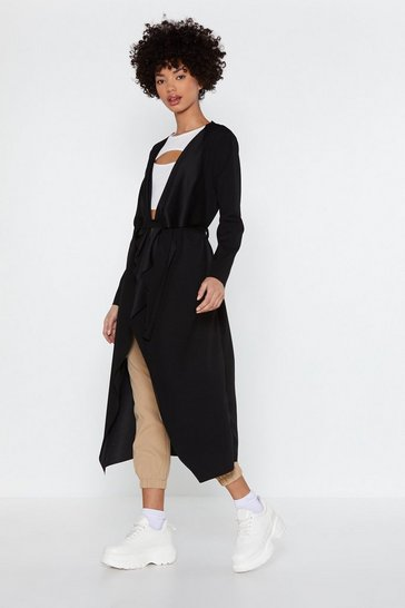 Womens Black I Got This Duster Coat