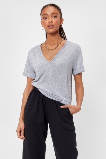 Grey Plunging Scoop Neckline T-Shirt