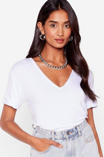 White Plunging Scoop Neckline T-Shirt
