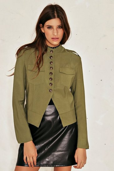 Womens Khaki At Ease Military Jacket