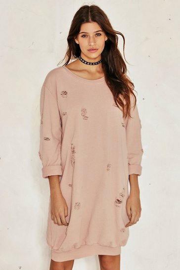 Womens Blush Burned Before Distressed Sweatshirt Dress
