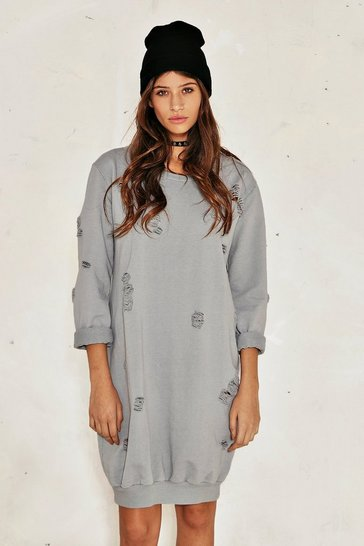 Womens Grey Burned Before Distressed Sweatshirt Dress