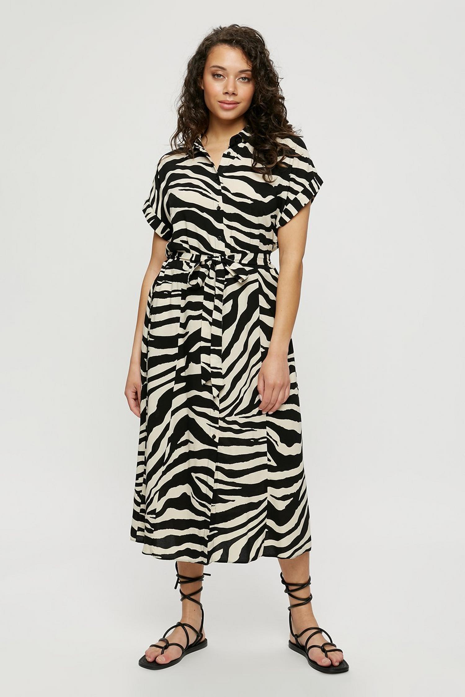 Buy Zebra Short Sleeve Midi Shirt Dress for GBP 38.00   Dorothy Perkins UK