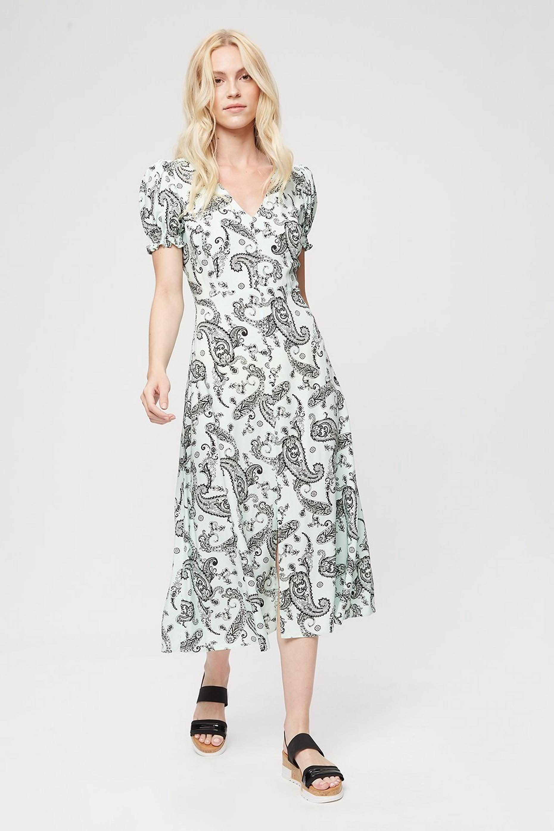 Mint Paisley Short Sleeve Midi Dress