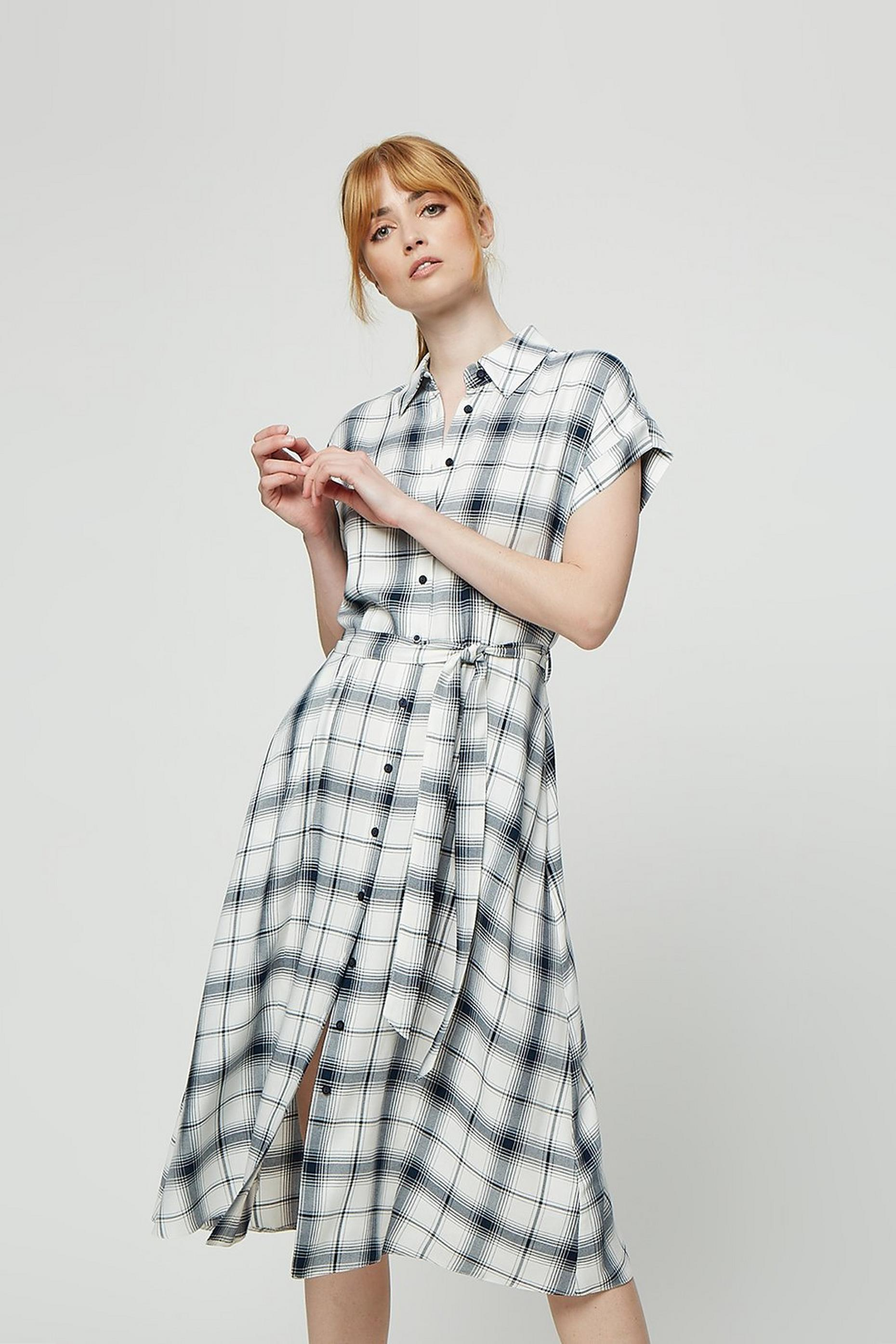 Ivory Check Short Sleeve Midi Shirt Dress