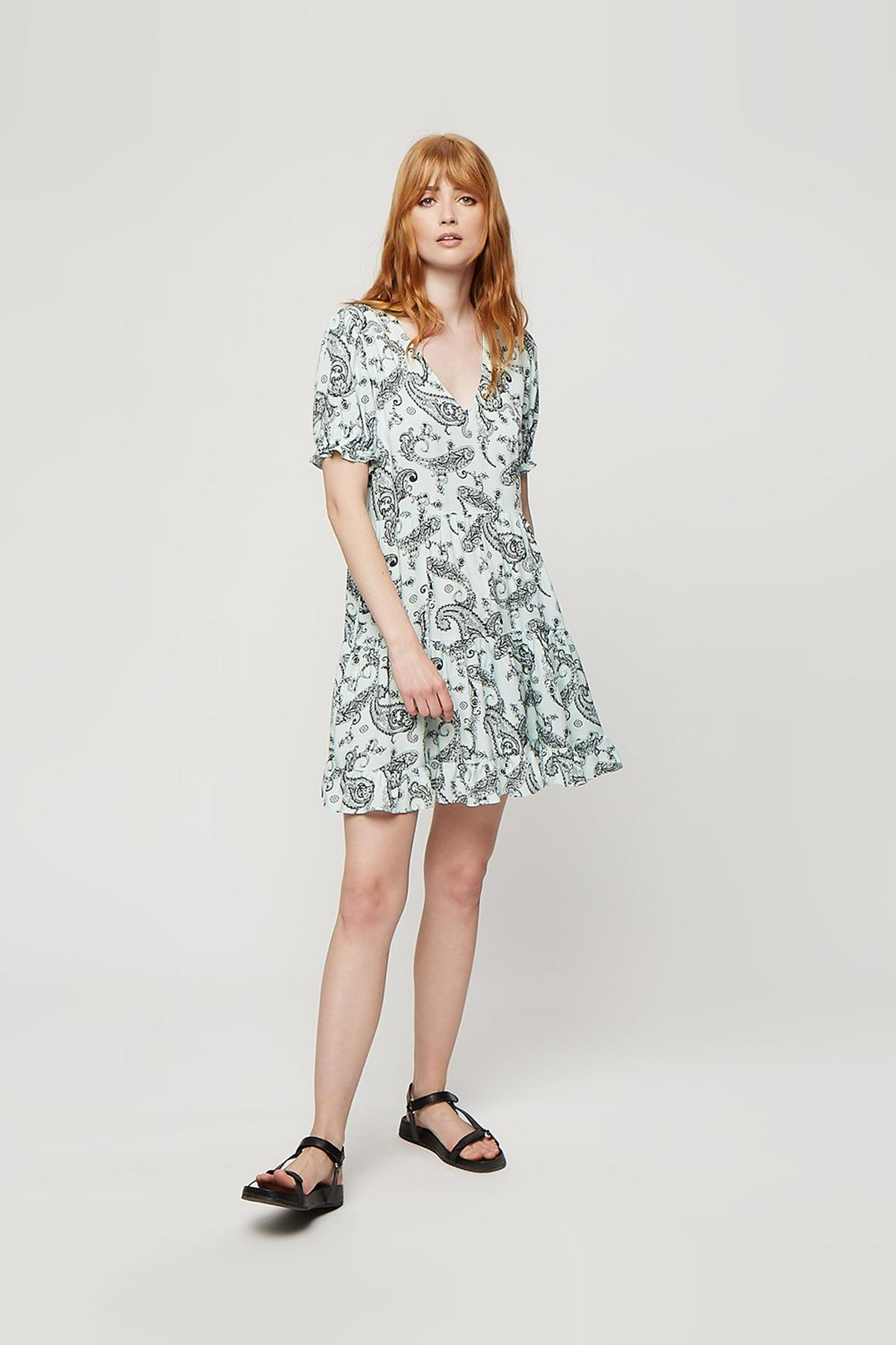 Mint Paisley Frill Hem Tiered Smock Dress