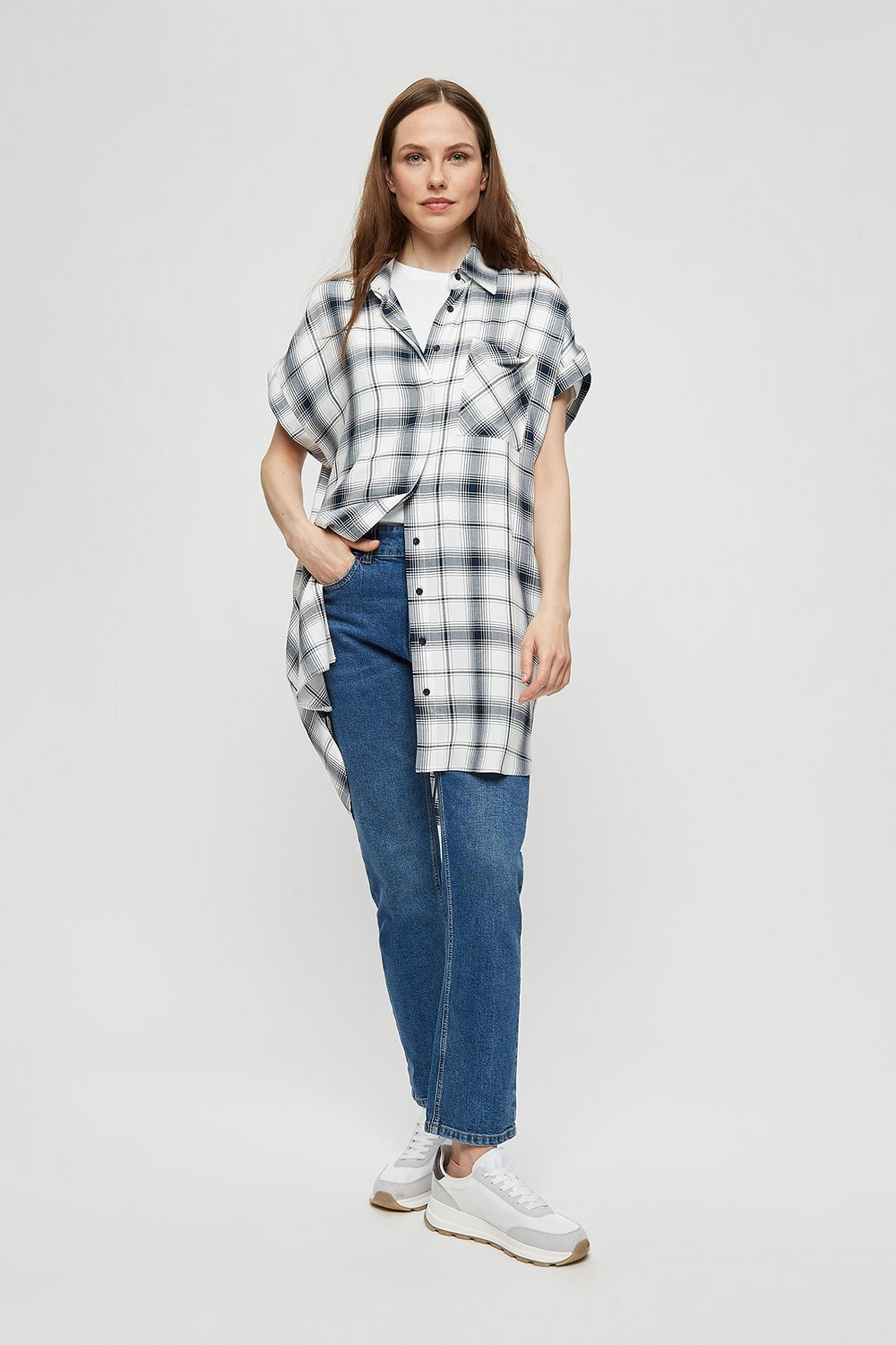 Black and White Gingham Long Line Shirt