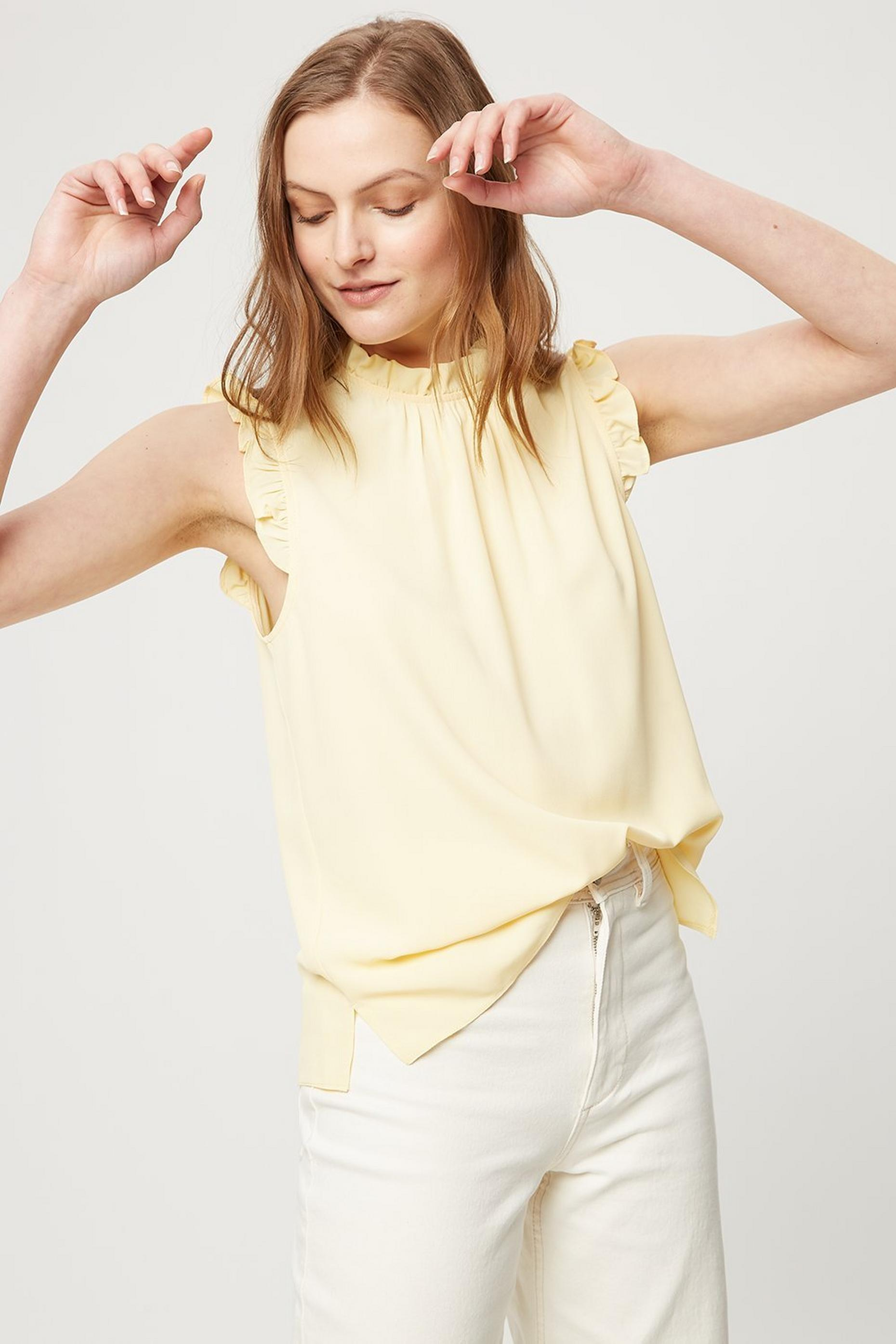 Lemon Ruffle Shell  Top