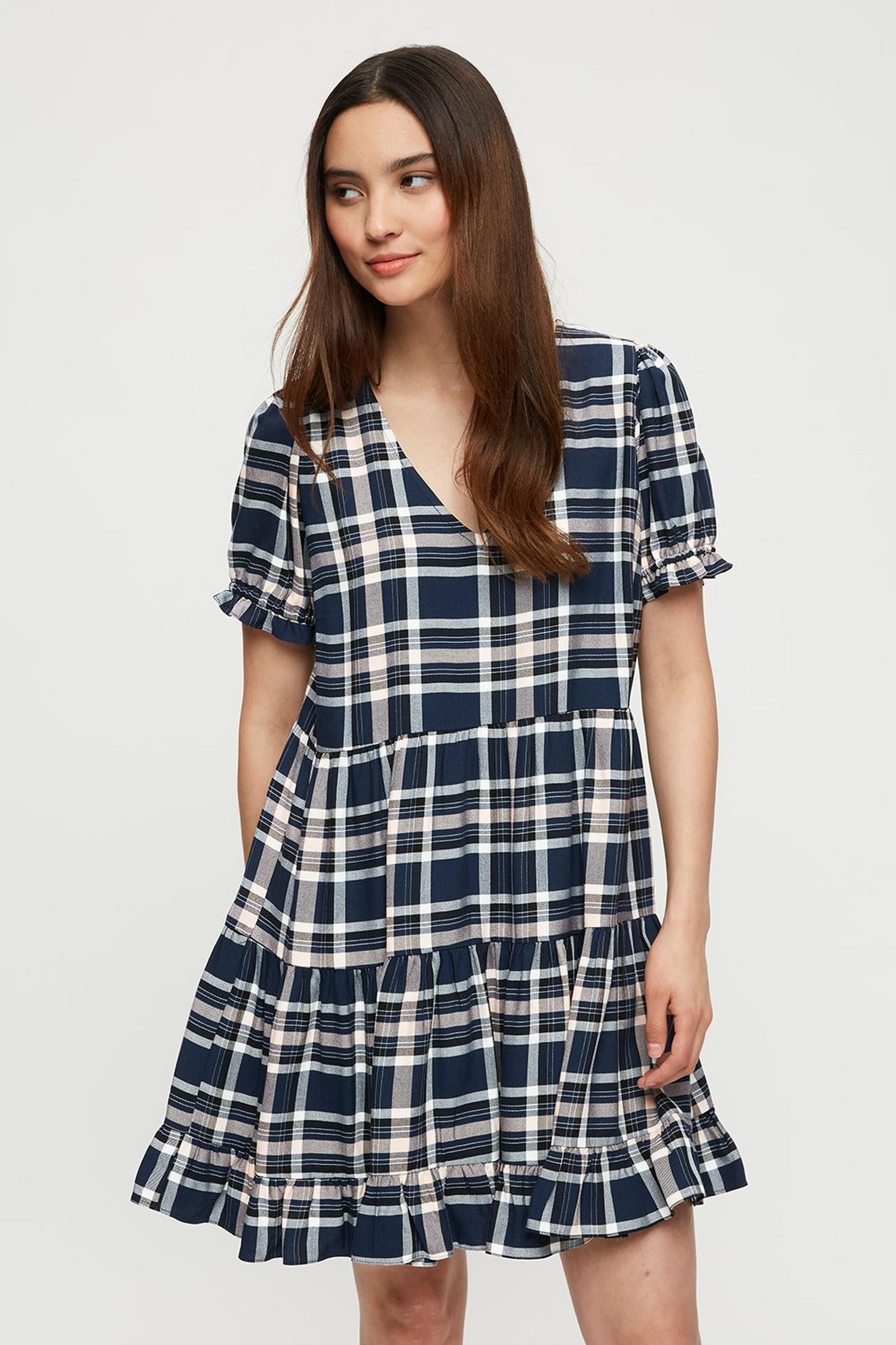 Petite Check Tiered Smock Dress