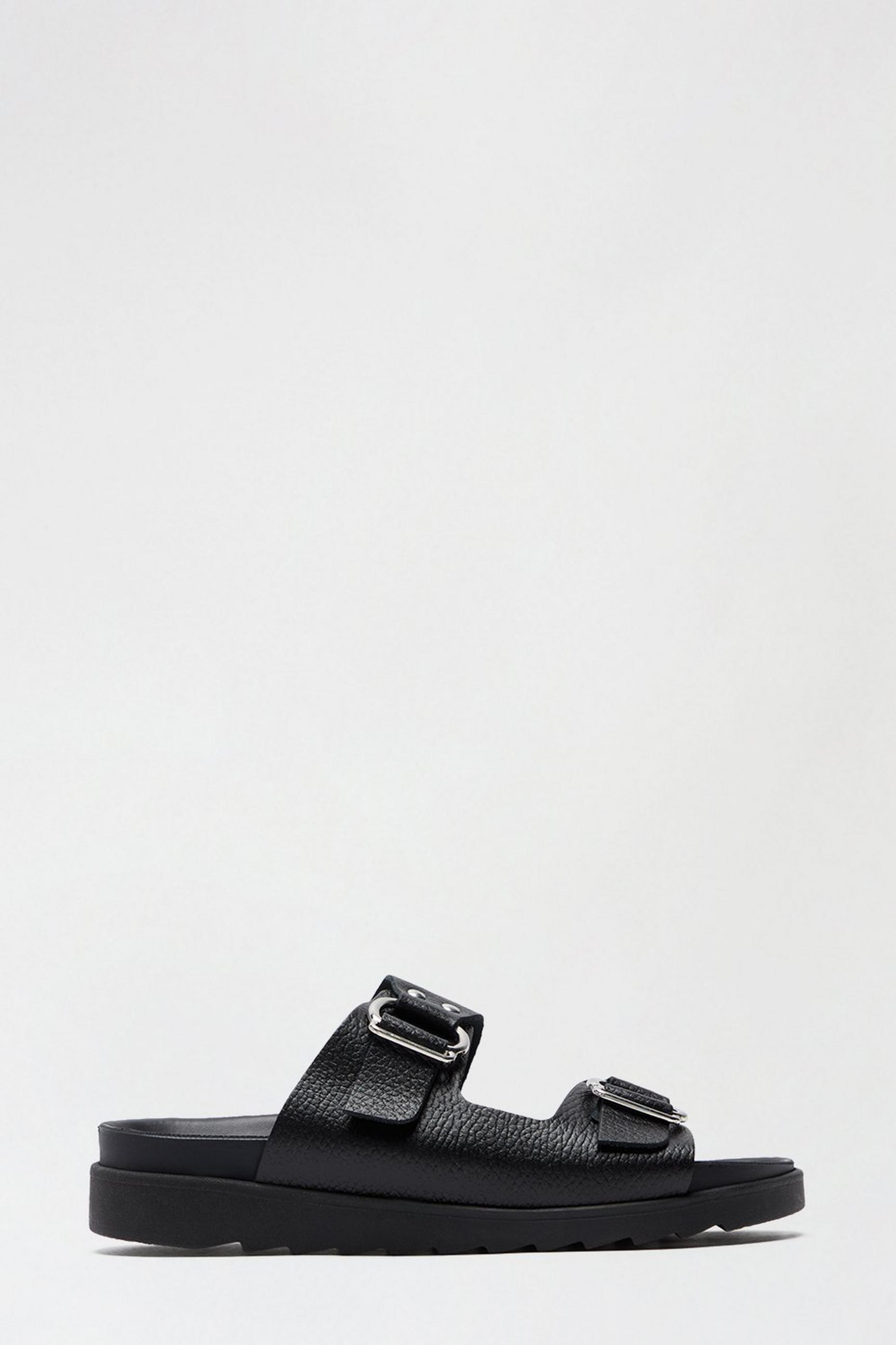 Black Leather Jaxx Double Buckle Slide