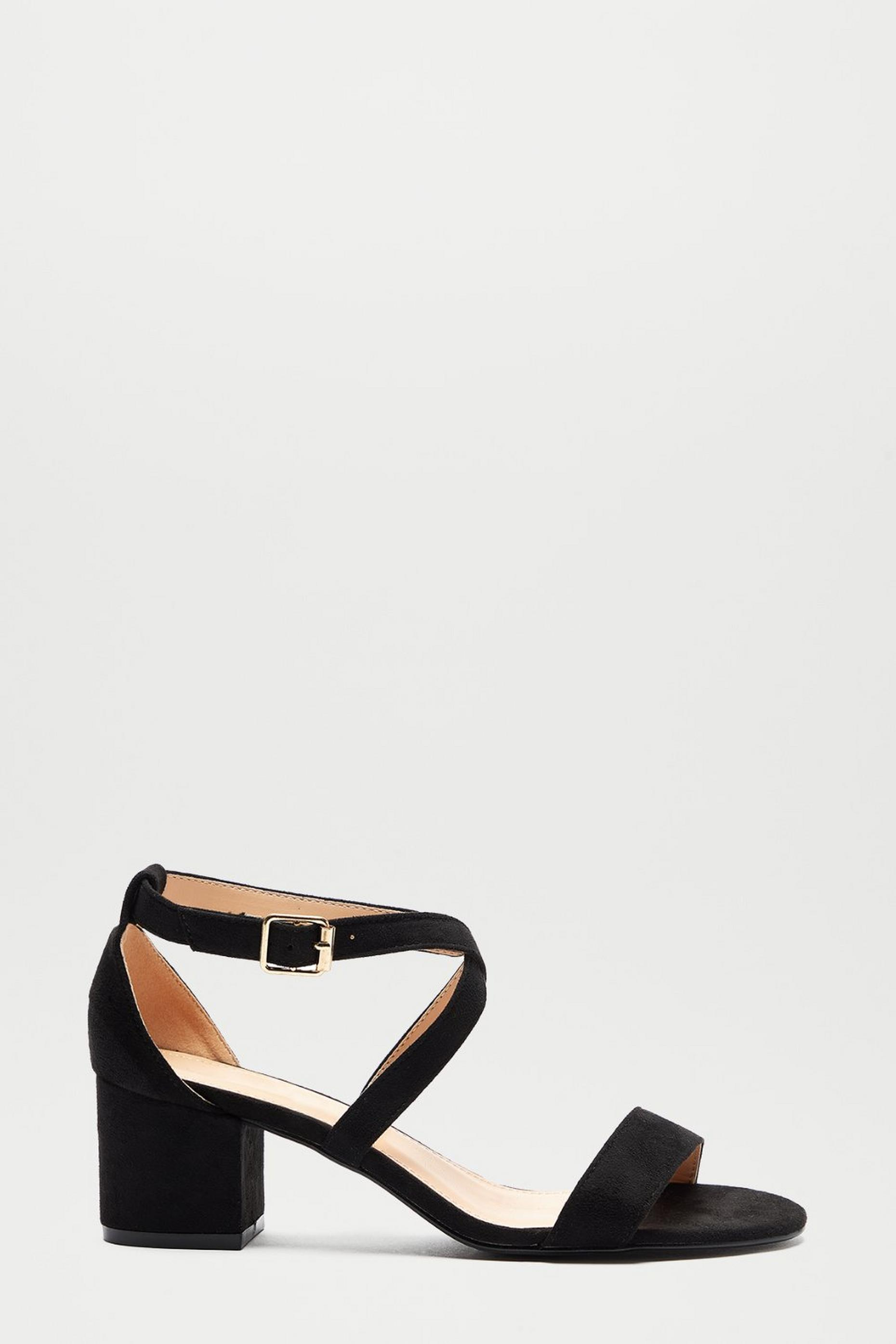Black Spring Cross Strap Heeled Sandal
