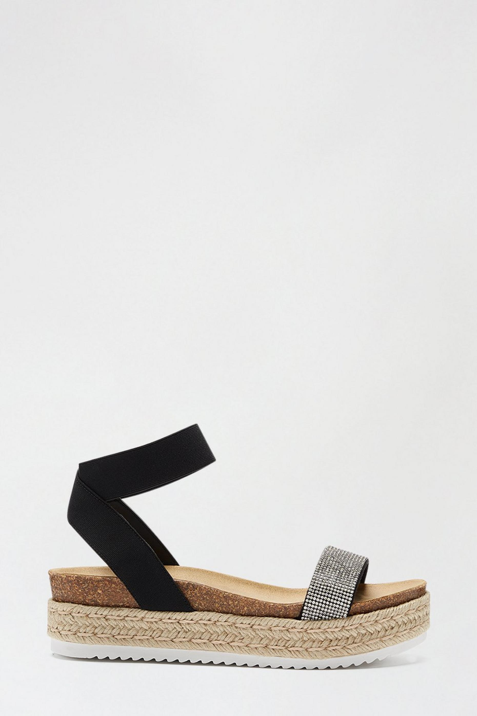 Black Rive Diamante Strap Wedge Sandal