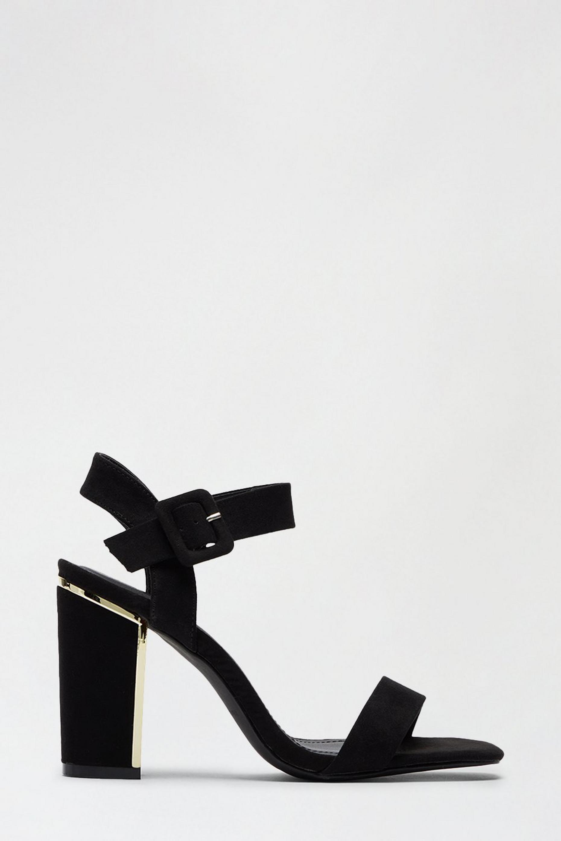 Black Strawberry Metal Detail Heeled Sandal